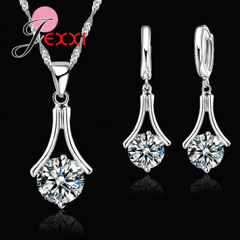 Fashion Simple Jewelry Set Women 925 Sterling Silver Wedding Anniversary Bijoux Necklace Earrings Dropshipping