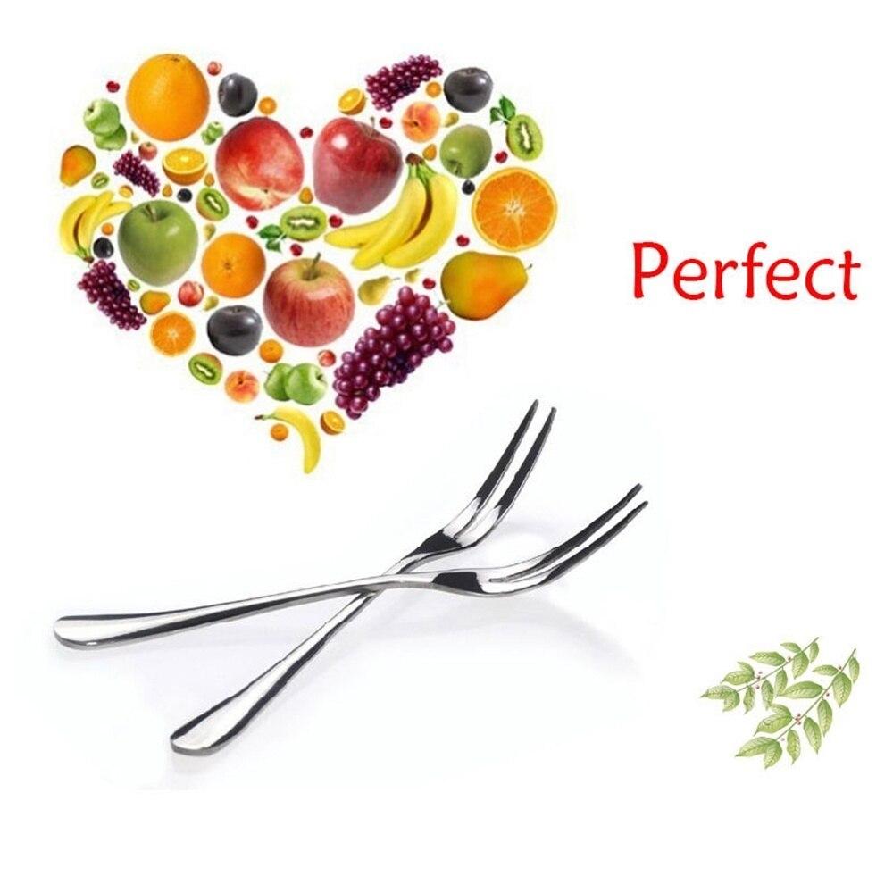 2 Pcs Character Kitchen Fruit Salad Snacks Dessert  Handmade Lot Of 2 Stainless Steel Fork Tableware Set