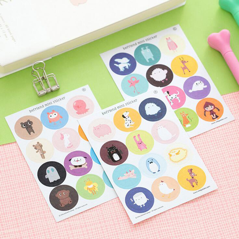 T59 3 Sheets /Pack Kawaii Cute Animals Round Befriend Mini DIY Decorative Stickers Diary Phone Bottle Decor Stick Label Kid Gift