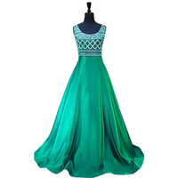 Long Prom Dresses 2017 Stunning Beaded Crystals Sleeveless Party African Satin Emerald Green Prom Dress