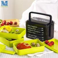 Creativa 3 Capas Bento Lunch Box 1900 ML de Calidad Alimentaria De Plástico Caja de Comida de Microondas Contenedor de Almacenamiento De Frutas Con Mango