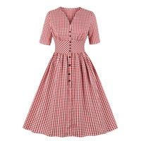 Vintage Gingham Dress Retro High Waist Single Breasted Tunic 4XL Plus Size Women V Neck Half Sleeve Big Swing Red Plaid Dress