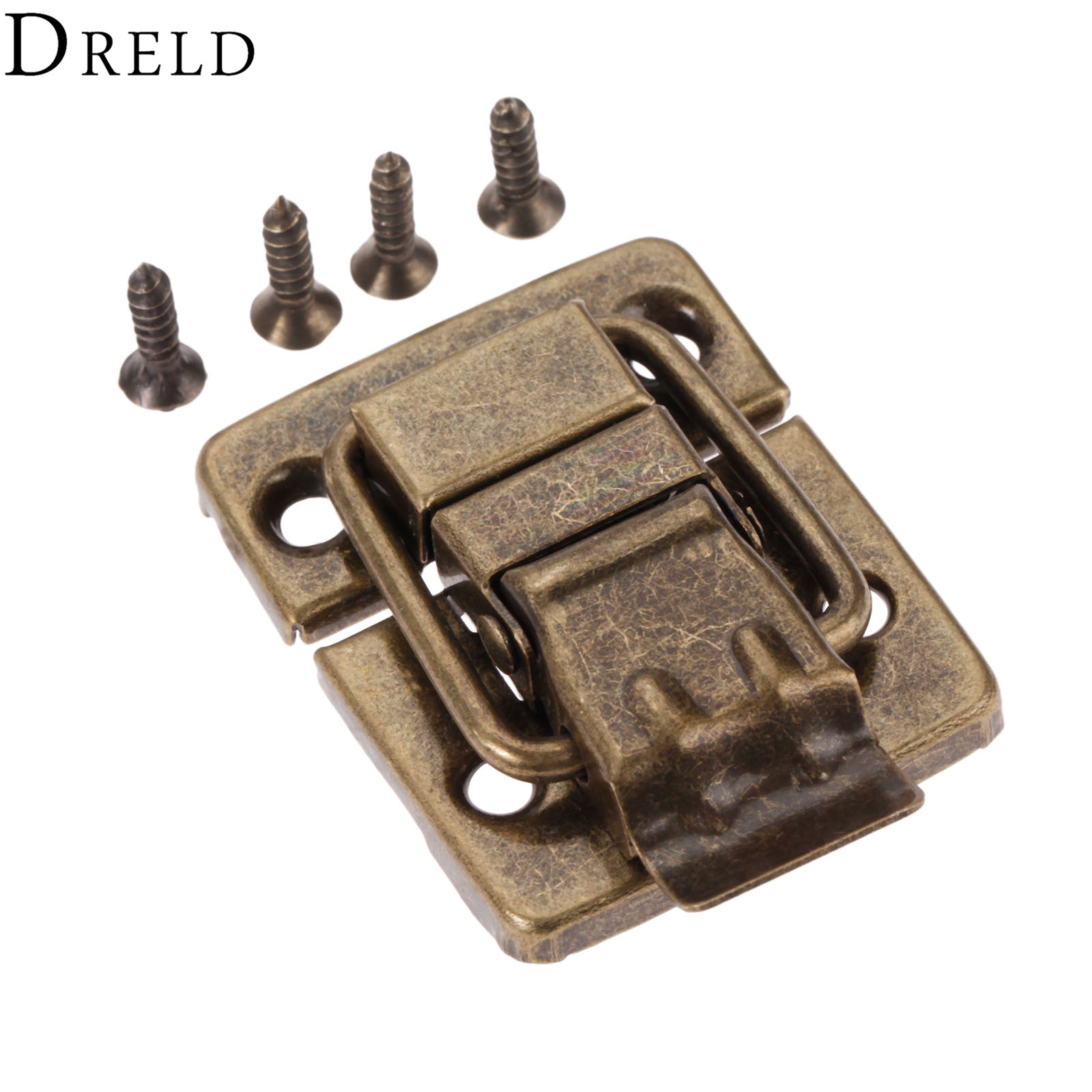 DRELD Antique Bronze Jewelry Wood Box Toggle Latch Hasp Drawer Latches Decorative Case Buckle Clasp Furniture Hardware 30*36mm wood