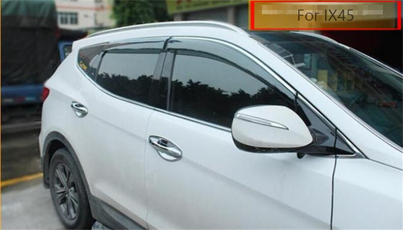 Car Awnings Shelters For Hyundai IX45 Santa fe 2014 2015 2016 2017 Window Shades Sun Rain Deflector Guard PP+Stainless Steel for ford explorer sport 2013 2014 2015 2016 2017 abs plastic window visors awnings rain sun deflector visor guard vent cover