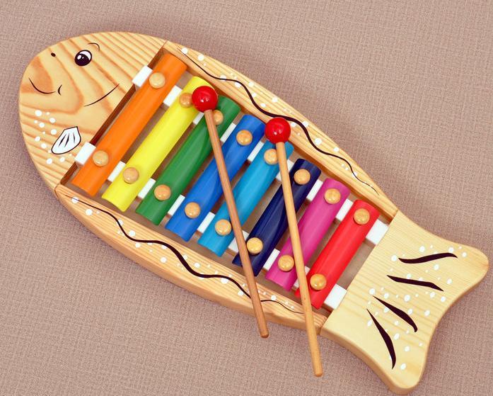 Gratis frakt Barn 8 ljud trä musikaliska xylofon leksaker Toy - Lärande och utbildning