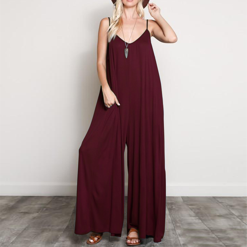 2019 ZANZEA Summer   Rompers   Women Straps Jumpsuits Loose Casual Sexy V Neck Overalls Solid Sleeveless Wide Leg Pants