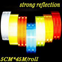 5cm*45m PET Strong Reflection Bright Reflective Tape Sticker Car Automobile Vehicle Truck Motorcycle Roadway Warning Strip Decal