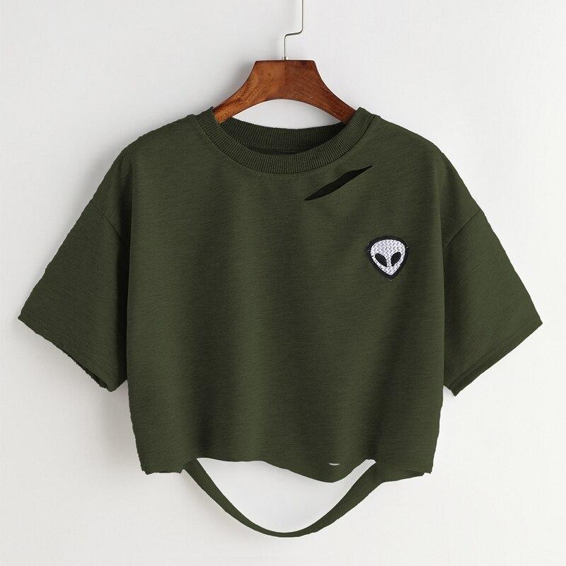 2018 Pink White Fashion Women Alien T Shirt Summer Style Harajuku T-shirt Cute Graphic Print Tees Female Kawaii tee shirt RRR