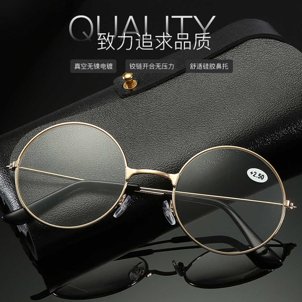 2 Pairs Alloy Round Retro Vintage Gold Frame Anti-fatigue Men Women Reading Glasses +0.75 +1.25 +1.5 +2.00 +1.75 TO +4