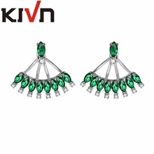 KIVN Fashion Jewelry Blue CZ Cubic Zirconia Bridal Wedding Earring Ear Jackets For Womens Girls Mothers Christmas Birthday Gifts