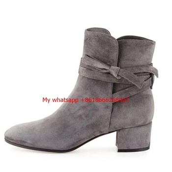 Sexy Grey Black Women Ankle Boots Female Suede Leather Chunky High Heel Boots Lace Up Knot Women Platform Pumps Autumn Botas