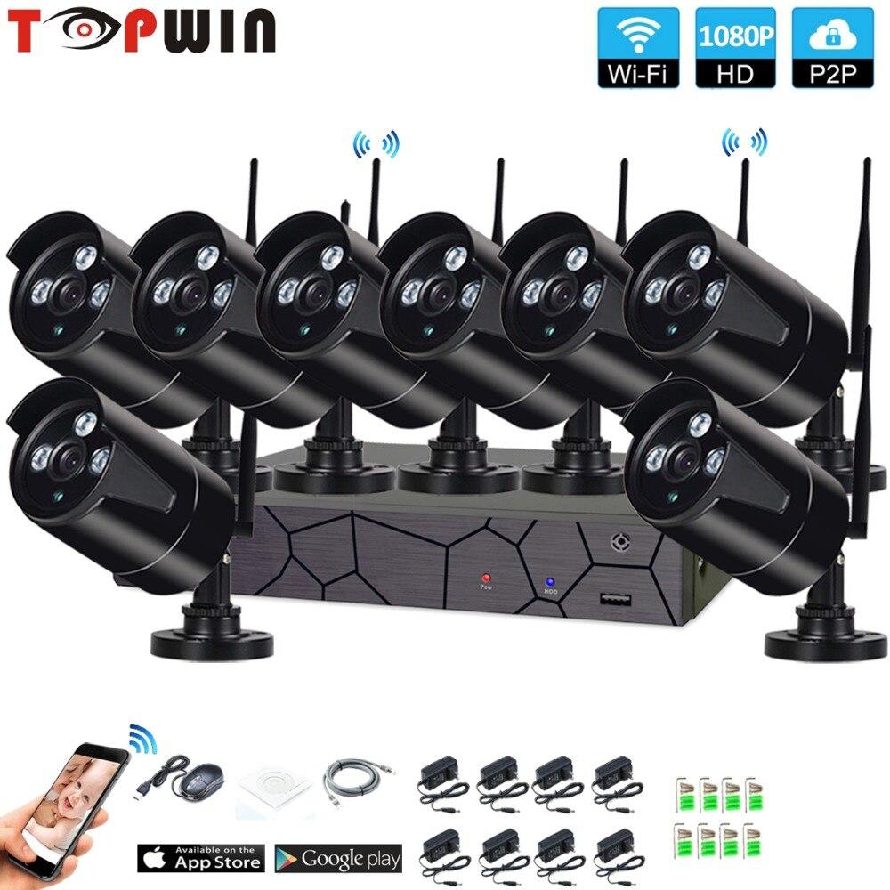 Plug and Play 8CH 1080 p HD Wireless NVR Kit P2P 1080 p Indoor Outdoor Visione Notturna di IR di Sicurezza 2.0MP IP WIFI Della Macchina Fotografica di Sistema CCTV
