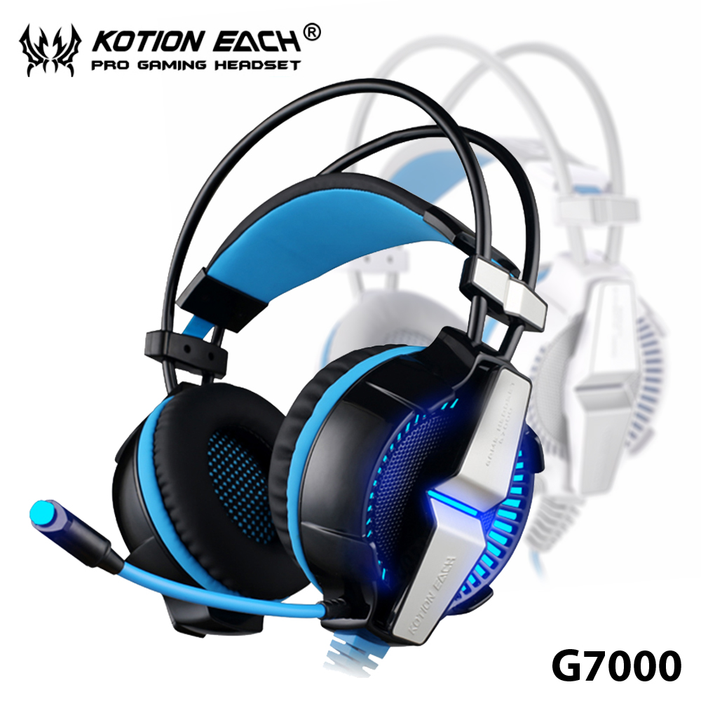 TOP!26 KOTION EACH G7000 7.1 Gaming Headphones earphones Stereo Headset with Microphone Enhanced Bass LED Light for Computer PC each g1100 shake e sports gaming mic led light headset headphone casque with 7 1 heavy bass surround sound for pc gamer
