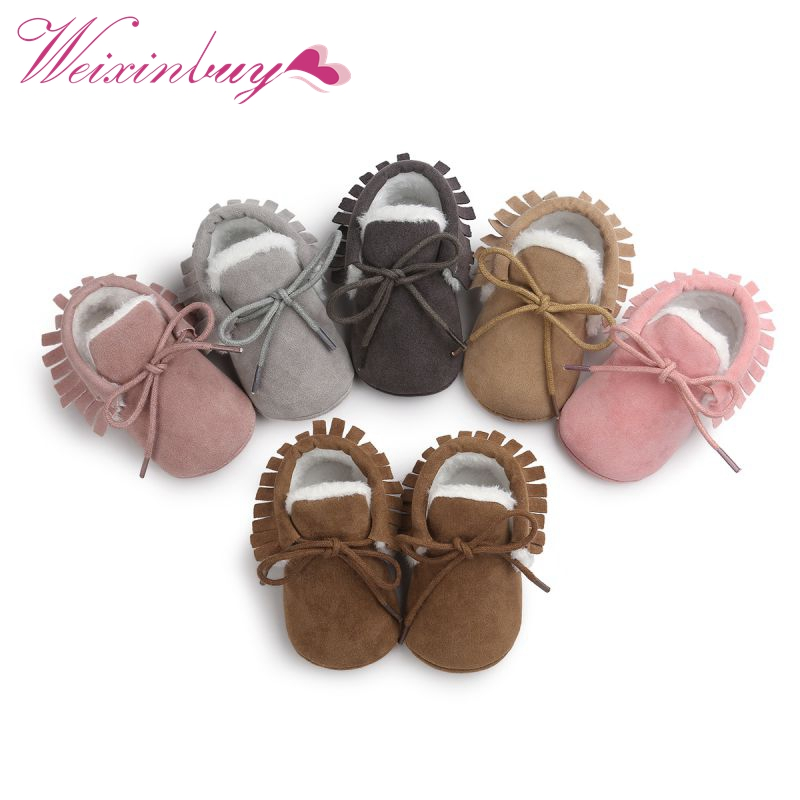 2019 Baby Moccasins Infant Shoes Soft Soled Non-slip Crib PU Leather First Walkers