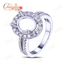 14k White Gold 8x10mm Oval Cut Natural 0 71ct Natural Diamond Ring Mounting Jewelry