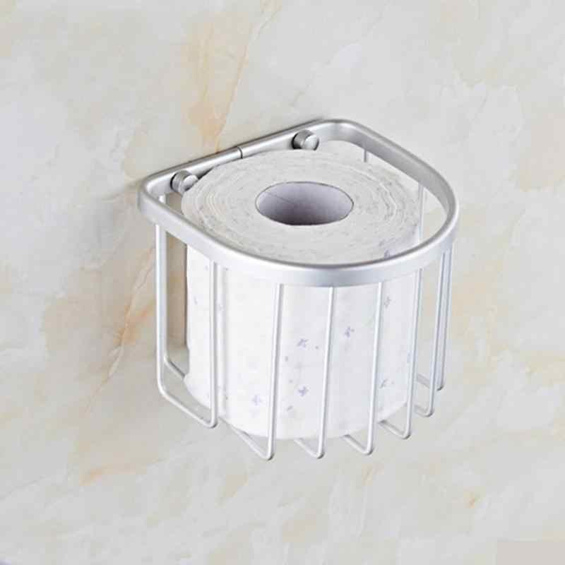 Aluminium zwięzły uchwyt ścienny na ścianie zamontowany wc uchwyt na papier łazienka półka po prysznic przestrzeń aluminium kosz do przechowywania wieszak na ręczniki papierowe