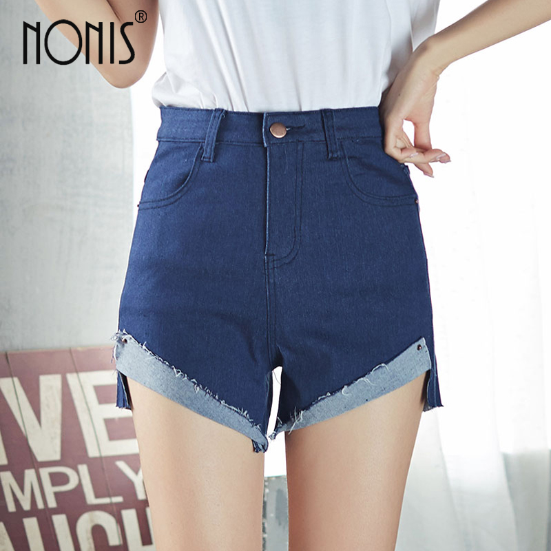 Nonis Women High waist Denim Shorts elastic Solid color Front cuffs Femme all match student College vintage Style jean pantalone