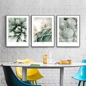 Image 3 - Настенная картина с изображением кактуса, холст для гостиной, искусственные зеленые растения, настенные картины без рамы