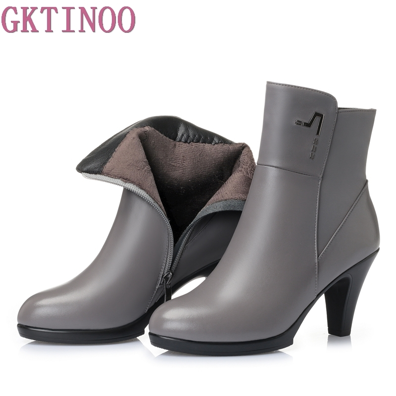 New Shoes Women Boots High Heels Ankle Boots Pointed Toe Genuine Leather Women Boots Zip Ladies
