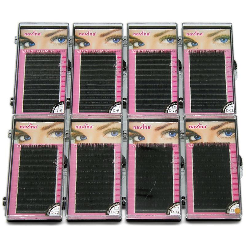 Navina 8cases/Lot C/D Curl Extension Individual Silk Lashes Natural Long  Black Soft Mink Eyelashes Makeup False Eye Lash cilia