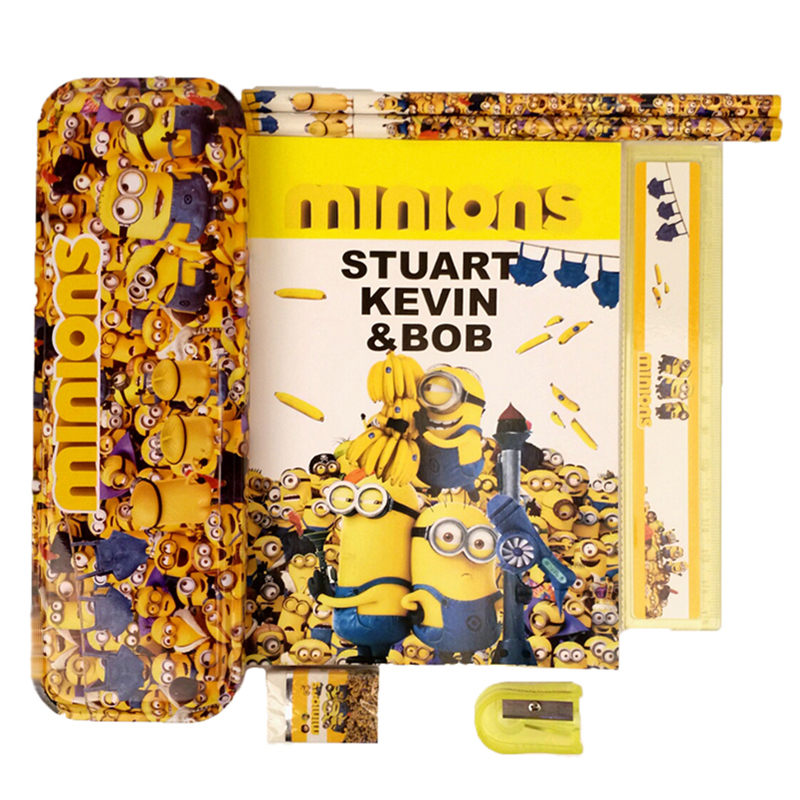 1 set children minions school Pencil Case for boys cartoon pencil box high quality school supplies stationery set kids gift