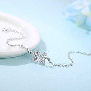 Image 2 - Wholesale 5PCS Trendy 925 Sterling Silver Bracelets Crystal  Person Adjustable Chain Link Bracelet Silver Jewelry For Women