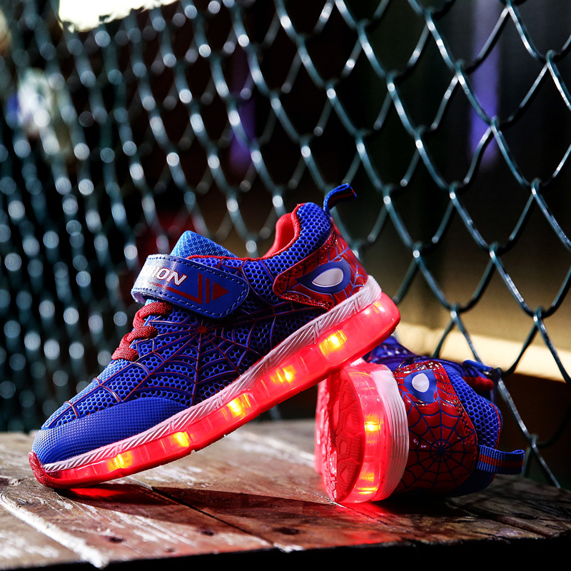 28-35 Size/ USB Charging Basket Led Children Shoes With Light Up Kids Casual Boys&Girls Luminous Sneakers Glowing Shoe