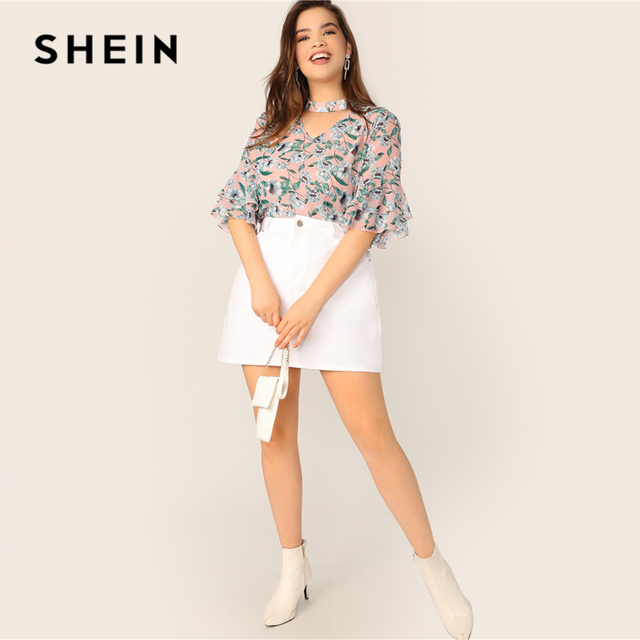 SHEIN Plus Size V-Cut Choker Floral Print Butterfly Sleeve Top Blouse 2019 Women Summer Casual Keyhole Half Sleeve Blouses 3