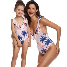 ruffled swimsuits mommy and me clothes family look mother daughter swimwear matching outfits mom mum and girl dresses clothing(Hong Kong,China)