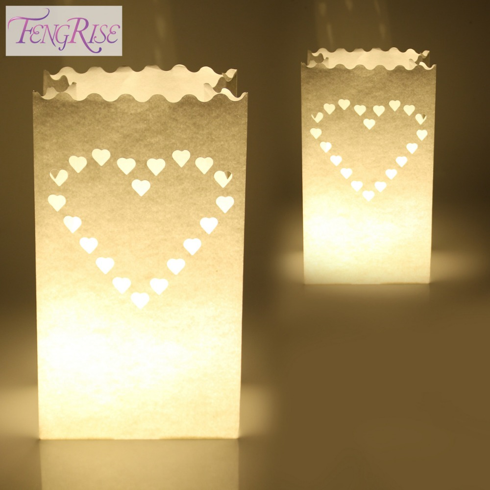 FENGRISE 10PCS Wedding Heart Tea Light Holder Luminaria Paper Lantern Candle Bag Home Valentines Day Gifts Party Decoration(China (Mainland))