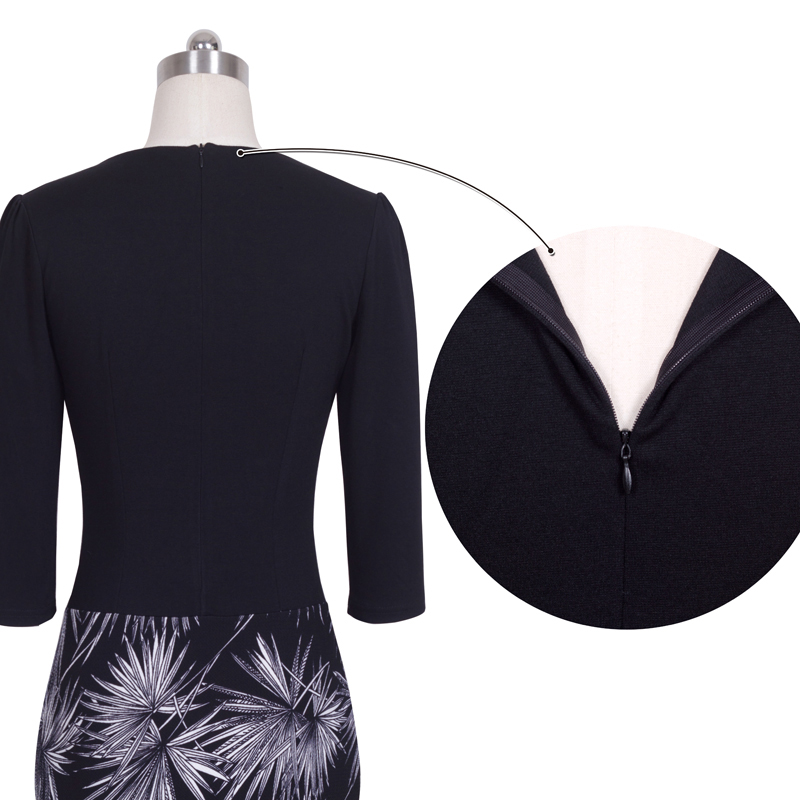 Nice-forever One-piece Faux Jacket Brief Elegant Patterns Work dress Office Bodycon Female 3/4 Or Full Sleeve Sheath Dress b237 5