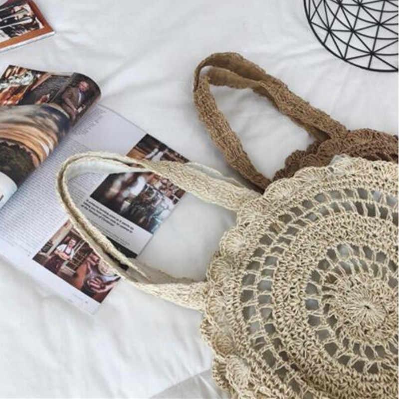 Bohemian Jerami Tas untuk Wanita Circle Pantai Handbags Musim Panas Rotan Tas Buatan Tangan Rajutan Perjalanan Besar Menggendong Tas 2020 Baru
