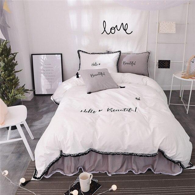 Good 100% Cotton White Grey Color Bed Linen Set Girls Korean Bedding Sets/bedclothes  Queen