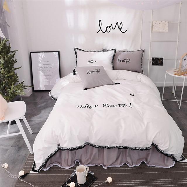 100 Cotton White Grey Color Girls Korean Bedding Setsbedclothes