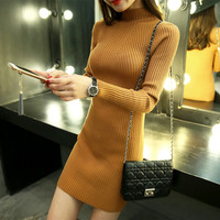 Medium Long Knitting Sweaters And Pullovers For Women New 2016 Autumn Winter Coat Turtleneck Mini Dress