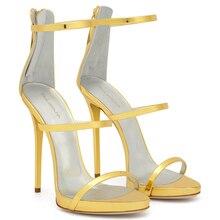Black Women Three Straps High Heels Basic Strappy Heeled Dress Shoes Rose Gold Patent Leather Shiny Blue Slim Platform Sandals