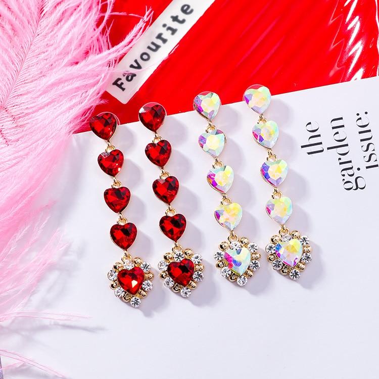 MENGJIQIAO 2019 Korean New Hot Sale Luxury Heart Crystal Long Pendientes Mujer Moda Exaggerated Rhinestone Drop Earrings Gifts