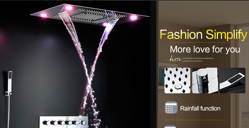 Luxury Led Rain Shower Head Large Rain LED Shower Set with Waterfall Shower Head with Embedded Ceiling 600x800 Rainfall Spout (24)