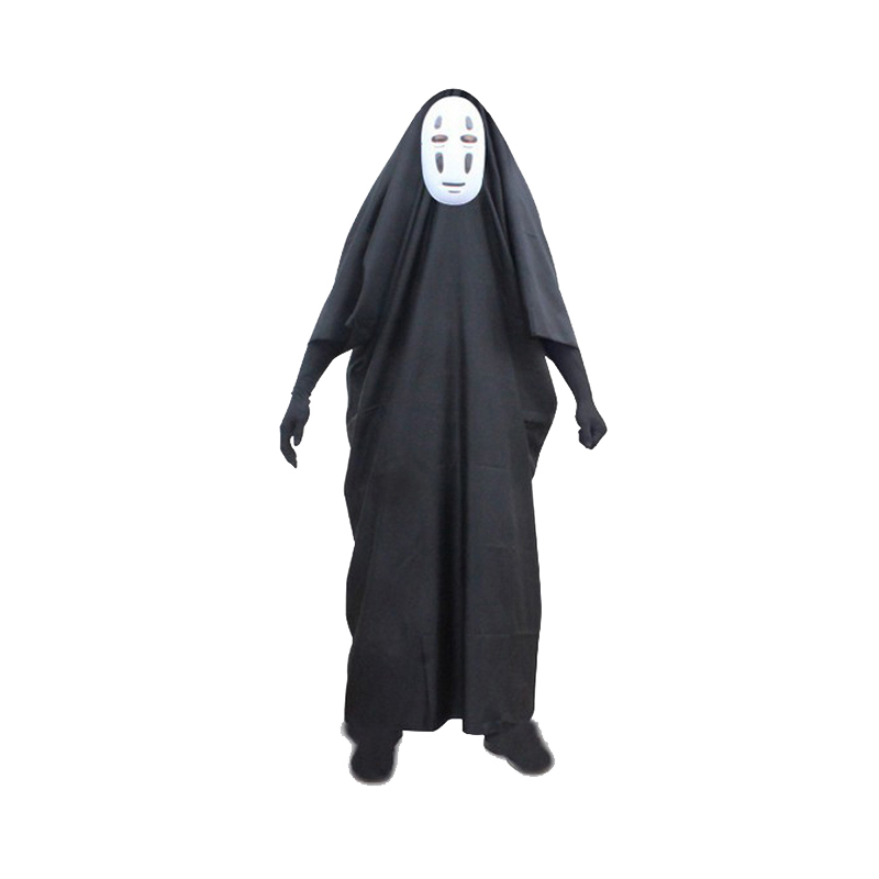 Spirited Away cosplay clothing no face man clothes Japanese animation Children Anime Games(mask+clothing+gloves) Halloween gifts