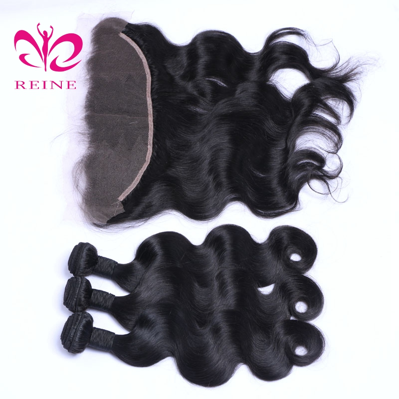 REINE BODY WAVE 100% human hair brazilian hair nature color 4 bundles with frontal none remy 10~26 inchs free shipping