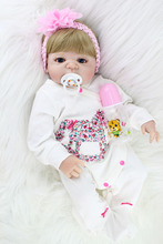 55cm Full Silicone Body Reborn Baby Doll Toy Lifelike Newborn Blonde Girl Princess Babies Doll Girl Brinquedos Bathe Toy