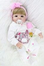 55 cm completo cuerpo de silicona reborn baby doll chica rubia princesa bebés muchacha de la muñeca brinquedos juguete realista nacidos bañarse juguete