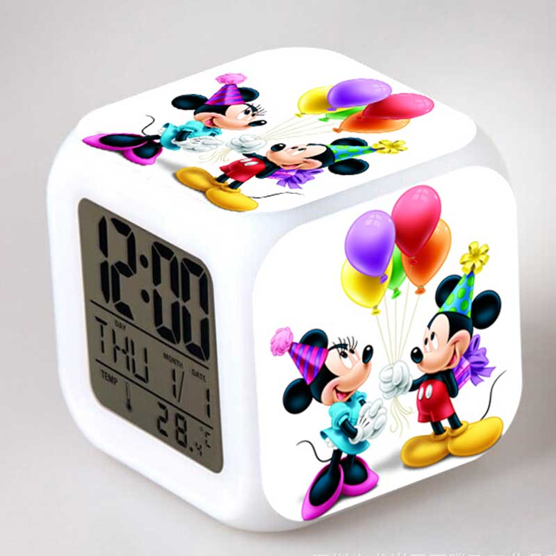 Minnie e Mickey Mouse Action Figures Alarm CLock LED Colorful Touch Light Anime Figurines Kids Toy for girls simba пупс minnie mouse
