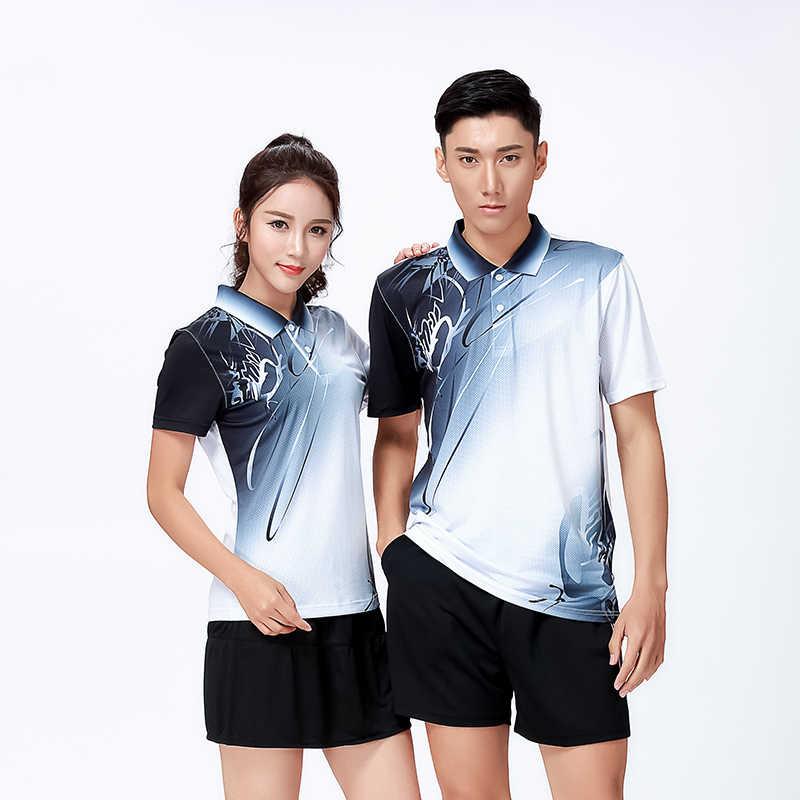 Новая спортивная одежда, одежда для бадминтона, рубашки для женщин/мужчин, Спортивная теннисная рубашка, рубашка для настольного тенниса, быстросохнущая спортивная рубашка 8810