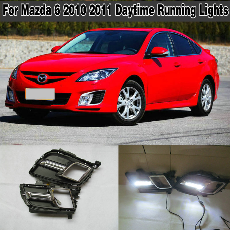 2PCs/set Car styling Daylight Daytime Running <font><b>light</b></font> <font><b>led</b></font> drl For <font><b>Mazda</b></font> <font><b>6</b></font> 2010 2011 waterproof daylight image
