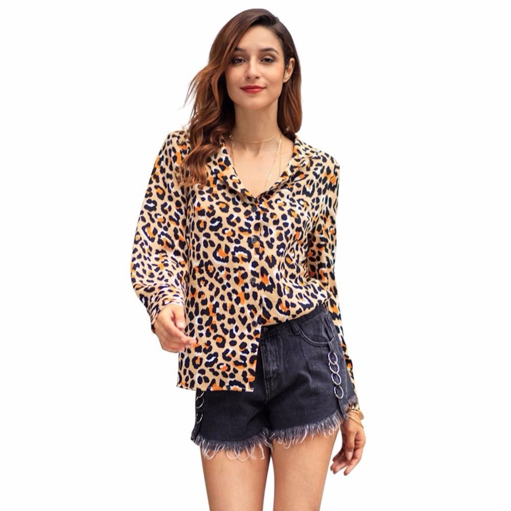 2019 Spring New Style Women Wild Leopard Print Blouse Shirt Elegant Lady Long Sleeve Chiffon Top Turn Down Collar Leopard Shirts
