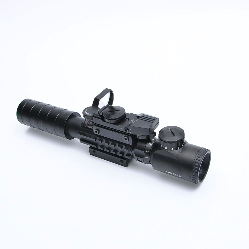 Drop Ship 3-9X32EG Riflescope With Long Range Red Dot Laser And Red/Green Dot Holographic Reflex Sight 3 In 1 Combo For Rifle