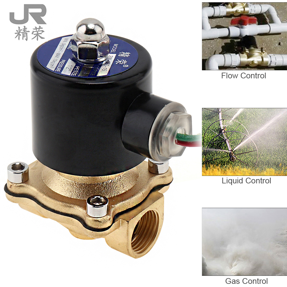 1/2 AC 220V Electric Solenoid Valve Pneumatic Magnetic Valve Brass Body for Water Air Oil Gas pneumatic gas water oil valve solenoid coil ac 220v connector plug 3 din43650a inner hole diameter 16mm high 43mm