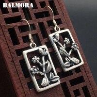 BALMORA 990 Pure Silver Plum Flower Earrings For Women Mother Gift Brincos Vintage Thai Silver Earrings