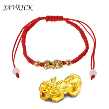 JAVRICK Chinese Feng Shui Gold Pi Xiu Kabbalah Red String Bracelet Evil Eye Protection feng shui pi xiu charm red string bracelet color change kabbalah braided mood bracelets attract wealth good luck jewerly